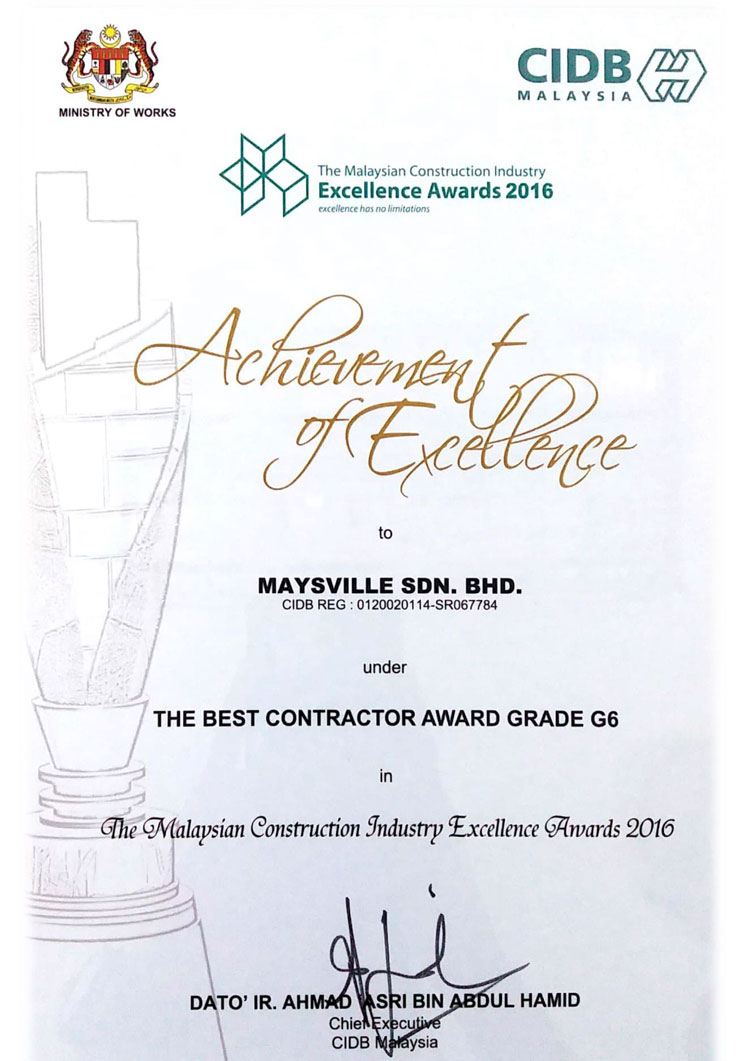 Best Contractor G6 by CIDB under Malaysia Construction Industry Excellent Award 2016